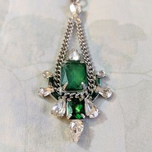 Vintage Long Green Stone Necklace with Rhinestones